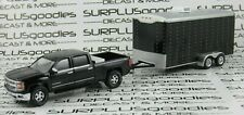 Greenlight 1:64 LOOSE Blk 2015 CHEVROLET SILVERADO Z71 w/Enclosed Car Trailer #2