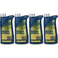 4x1 Liter MANNOL Kühlerfrostschutz Typ G13+ Fertiggemisch Antifreeze -40°C Gelb