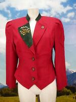 Neuwertig tailliert Loden Blazer Leder Besatz mit Stickerei Trachtenjacke Gr.38
