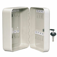 KEY CABINET SAFE CASE BOX 20 KEYS HOOKS METAL STORAGE LOCKING SECURITY CASE NEW