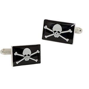 Jolly Roger Pirate Flag Cufflinks - Onyx Art - Gift Boxed - Skull and Crossbones