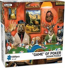 "New! Puzzles for Adults - BunMo ""Game of Poker"" 1000 Piece Jigsaw Puzzle Animals"