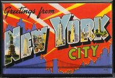 "Greetings From New York City Vintage Postcard 2"" X 3"" Fridge Magnet. NYC"