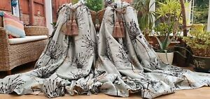 """HUGE PAIR OF POWDER BLUE  SILK INTERLINED LINED CURTAINS 85"""" DROP BY103"""" WIDTH"""