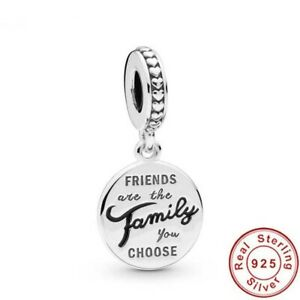 FRIENDS ARE THE FAMILY YOU CHOOSE GENUINE STERLING SILVER 925 CHARM & POUCH