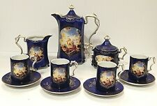 RS Prussia Porcelain Reproduction Coffee Tea Set Lovers Scene Complete 13 Pieces