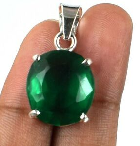 15 Ct Natural Oval Muzo Emerald 925 Sterling Silver Pendant AGI Certified G7984