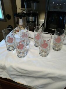 Vintage Glassware Drinking Glasses set of 6 Pink ROSES Excellent cond.