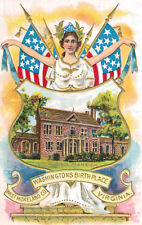 Washingtons Birthday Postcard,Embossed,Miss Columbia & Woodlawn Mansion,1909
