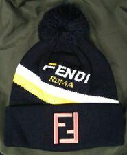 Black Fendi Roma Mens Women Beanie Cap Hat - Size Medium