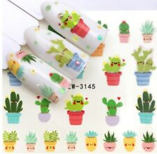 3 Sheets Funny Cute Cactus Nail Art Sticker Water Transfer Decals Decoration