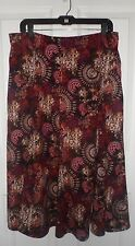 Christopher & Banks Damask and Wheel Print Purple Skirt 14 NWOT
