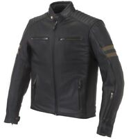 GIACCA JACKET MOTO PELLE LEATHER LEM LEGEND MARRONE NERO BLACK TG XXL
