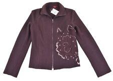 Kenzo Chocolate Brown Wool Flannel Layered SHASHIKO APPLIQUE Sweater Jacket 38