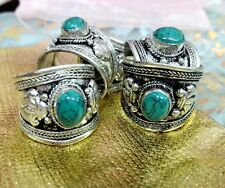 old Tibet Silver Ring Green Turquoise Stone Adjustable Religion one ring