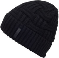 Mens Winter Knitting Wool Warm Hat Daily Slouchy Hats Beanie Skull Cap (Black)
