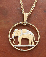 "Elephant Pendant & Necklace Thailand Coin hand Cut  3/4"" diameter ( # 297 )"