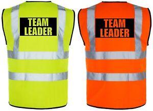 TEAM LEADER Hi-Vis High-Viz Visibility Safety Vest/Waistcoat | Yellow/Orange