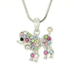 Poodle Necklace Made With Swarovski Crystal Dog Puppy Pet Multi Color Pendant