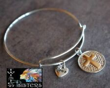 Silver Bangle Bracelet w/ 2-Tone CROSS & Love Heart Charms Valentines Day Gift!