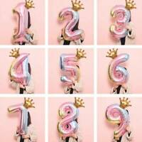 32 inch Crown Number Foil Balloon Digit Rainbow  Happy Birthday Party Decoration