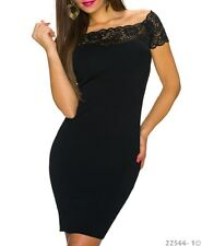 Robe/Dress Femme/Woman manches courtes dentelle Noire Made in Italie