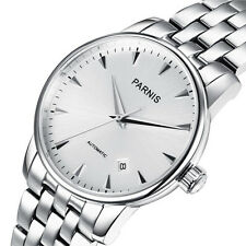Parnis 38mm white dial full SS band sapphire glass Miyota Automatical men watch
