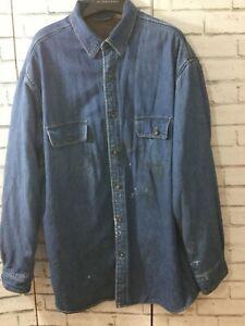 Mens Vintage 90s Denim Shirt Fleeced Lined St. Johns Bay  Retro Casual XL Tall