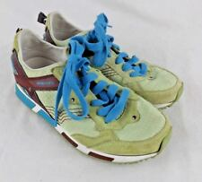 Diesel Anza Women Shoes Size 6.5 Leather Causal Athletic Lime Green Brown Blue