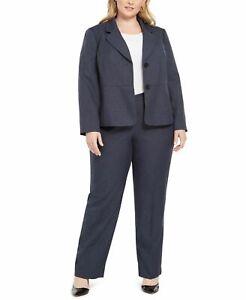 Le Suit Women Pant Suit Denim Blue Size 20W Plus Notch Collar 2 Button $240 #549