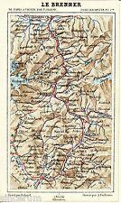 Brenner Sterzing Bozen 1877 kl. orig. Karte + frz. Reisef. (7 S.) Brixen Matrei