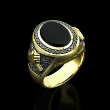 Mens Gold Onyx Signet Ring Gold Onyx Rings For Man Unique Jewelry Gift Boyfriend