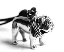 Schwere Franzoesische Bulldogge Hund MÄNNER Kette Halskette Lederkette Neu 1176