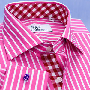 Pink Striped Formal Business Dress Shirt Wrinkle Free Checks French Cuffs Video