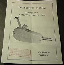 VINTAGE COMPASS LINE REMOTE CONTROL BOX INSTRUCTION MANUAL