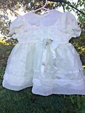 Vintage J Q JOE Smocked Baptism Wedding BEAUTY Lace Girl Dress Sz 18 Mths 👚tb18