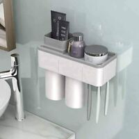 Automatic Toothpaste Dispenser Toothbrush Holder Wall Mount Storage Rack *2 CUPS