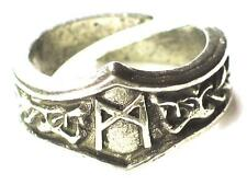 Mannaz Viking Dragon Head Rune Ring, Man and mankind, Letter 'M'. Adjustable