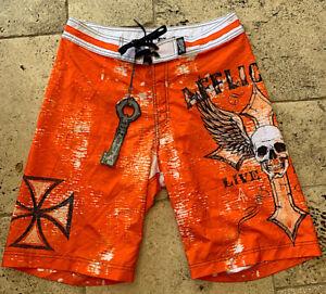Affliction - LIVE FAST - Men's Boardshorts Swim Trunks - NEW - Orange