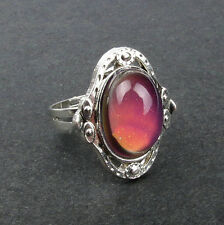 1PC  Adjustable Mood Ring Change Colour Cocktail Silver Ring Size 8