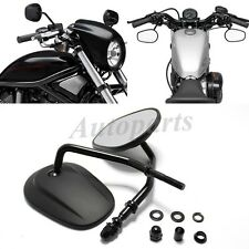 Black Oval Motorcycle 8mm Chooper Rearview Mirrors For Harley Iron 883 2009-2017