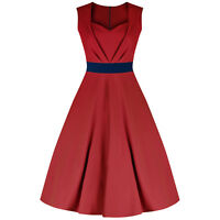 PRETTY KITTY LUXURY UK MADE 50s RED NAVY ROCKABILLY VINTAGE PROM COCKTAIL DRESS