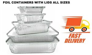 New Aluminium Foil Hot Food Containers Box with Lids Home Takeaway ALL SIZES PSL