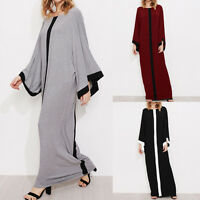 UK 8-24 ZANZEA Women Oversized Striped Kimono Style Casual Baggy Long Maxi Dress