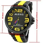 Best Women's Watches Black Dial Round Silicone Black Band Alexis Brand 3D Dial
