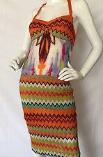 VTG MISSONI Orange Label Silk Blend Knit HalterTop Dress ZigZag Design SZ 40 IT