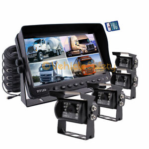 """9"""" Quad Monitor With DVR 4x 4Pin Backup CCD Camera Safety System For Truck RV"""