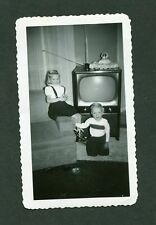 Vintage 1950s Snapshot Photo Happy Boy & Girl w/ New Tv Television 413152