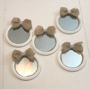 "5-Pc White Burlap/Rope 7.5"" Wall Mirrors"