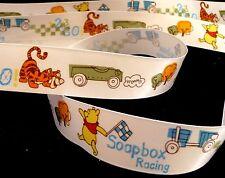 1 inch Winnie the POOH bear Tigger soapbox racing race car Disney satin RIBBON